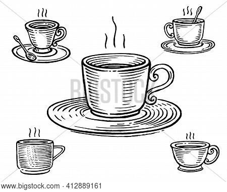 Cup Of Tea Or Coffee, Vector Illustration. Vintage Graphics And Handwork. Drawing With An Ink Pen An