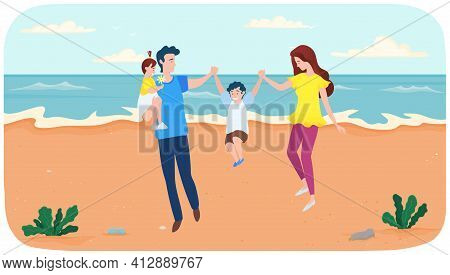 Parents And Children Playing With Each Other Near Ocean Bank. Joint Pastime At Summer Resort