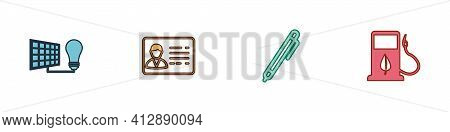 Set Solar Energy Panel And Light Bulb, Identification Badge, Pen And Bio Fuel With Fueling Nozzle Ic