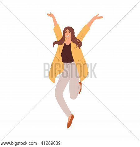 Happy Woman Jumping Up From Joy And Success. Rejoicing Employee Celebrating Achievement And Victory.