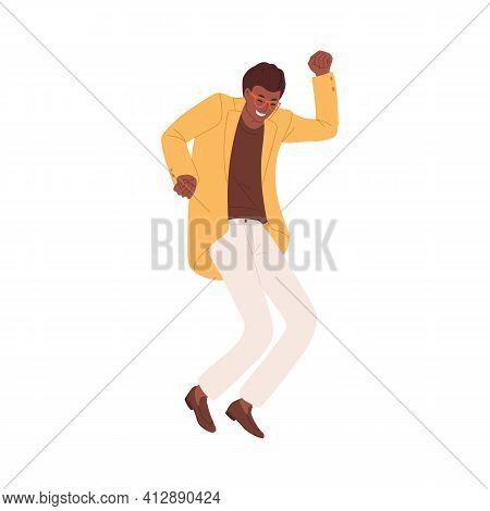 Happy Energetic Black-skinned Man Expressing Joy By Jumping And Dancing. Winner Celebrating Success,