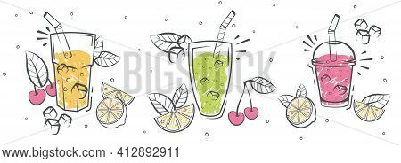 Smoothies. Detox Diet Drinks In Different Bottle. Fresh Organic Smoothie Ingredients. Superfoods And