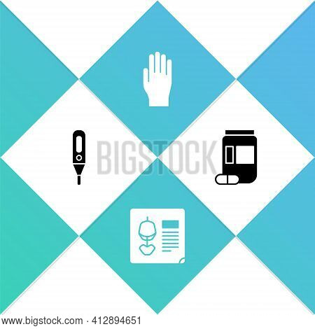 Set Medical Digital Thermometer, X-ray Shots, Rubber Gloves And Medicine Bottle And Pills Icon. Vect