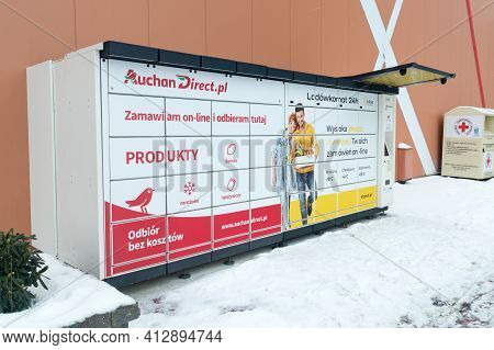 Lomianki, Poland - February 15, 2021: Inpost Lodowkomat 24h Fridge Delivery Box.