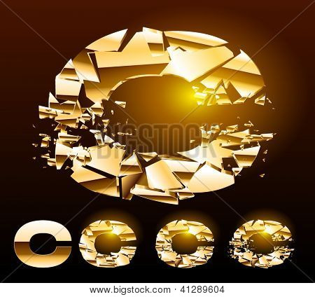A vector letters set of a broken golden alphabet. Symbol c