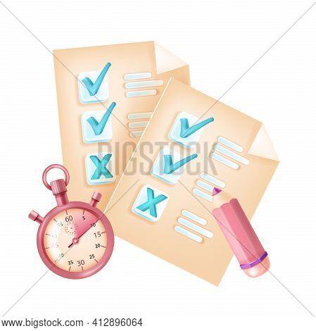 Online Exam, Vector Internet Test Form, Checkbox, Mark, Question List, Timer, Pencil. Digital Remote
