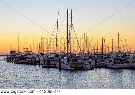 Perth, Wa, Australia - February 28, 2017: Sunset Over The Hillarys Marina Full Of Mooring Boats