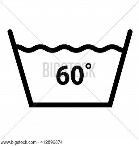 Machine Wash Temperature 60 Icon On White Background. Washing Sign. Flat Style. Wash At 60 Degree Sy