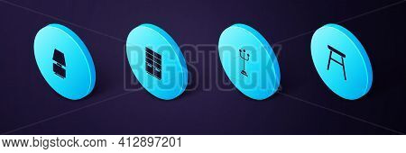 Set Isometric Chair, Coat Stand, Wardrobe And Table Lamp Icon. Vector