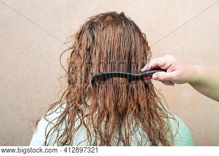 Combing Female Damp Hair With A Dark Comb. Hair Care.