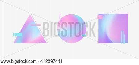 Vector Collection Creative Modern Colourful Geometric Shapes. Stylish Graphics With Iridescent Decor