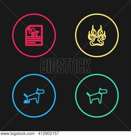 Set Line Dog Pooping, , Paw Print And Medical Certificate For Dog Or Cat Icon. Vector