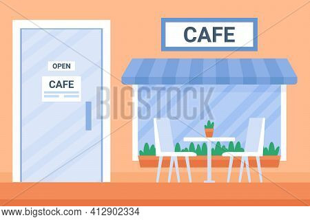 Street Open Cafe Exterior House In City With Window And Glass Door. Coffee Shop Urban Building Facad