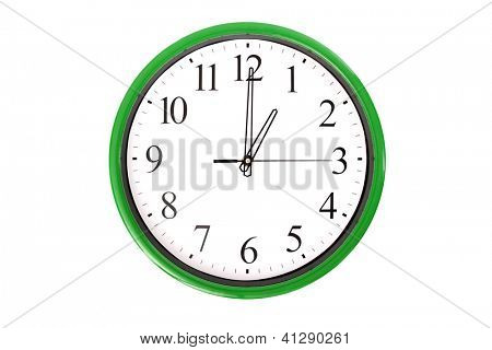 A clock of a serie showing 1 o'clock. Isolated on a white background.