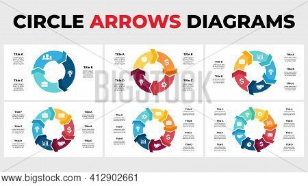 Arrows Vector Infographic. Circle Chart Diagrams. Presentation Slide Template. 3, 4, 5, 6, 7, 8 Step