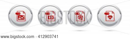 Set Line Bmp File Document, Mp4, Avi And Ruby. Silver Circle Button. Vector
