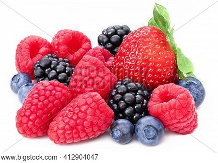 Berries Collection Isolated On White Background. Fresh Mix Berry Set Isolate Composition, Raspberry,