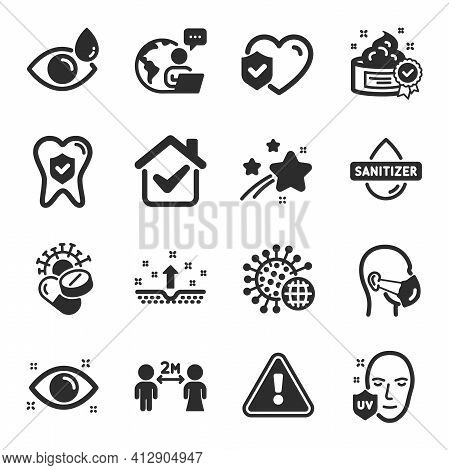 Set Of Medical Icons, Such As Social Distancing, Uv Protection, Cream Symbols. Vector
