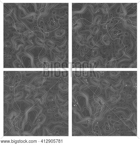 Abstract Paper Cut Shapes. Topographic Pattern Texture. Map On Land Vector Terrain. Elevation Graphi