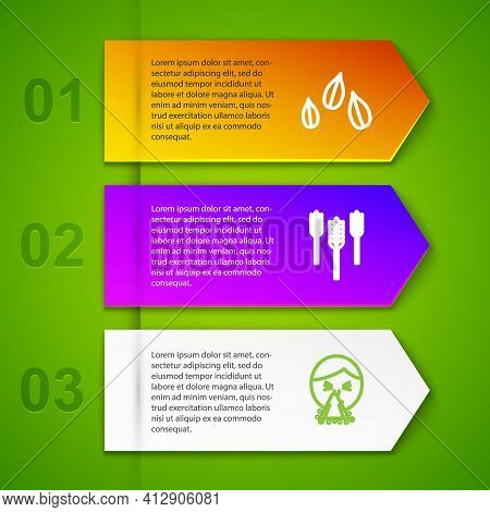 Set Line Sesame Seeds, Wheat, Handkerchief To His Runny Nose And Runny. Business Infographic Templat