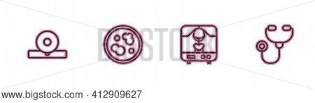Set Line Otolaryngological Head Reflector, X-ray Machine, Petri Dish With Bacteria And Stethoscope I