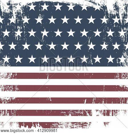 American Grunge Flag For. Vector Illustration Eps10