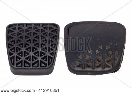 Rubber Spare Parts For Cars. Comparison Of A New Rubber Cover For The Clutch Pedal On Car With The S