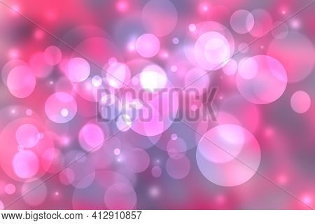Abstract Pink Gradient Blue Purple Background Texture With Glitter Defocused Sparkle Bokeh Circles A
