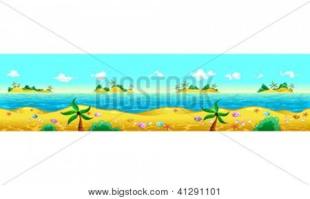 Seashore and ocean. Vector illustration with measures: 6144x1536 pixels, adaptable to iPad screen. The sides repeat seamlessly for a possible, continuous animation.