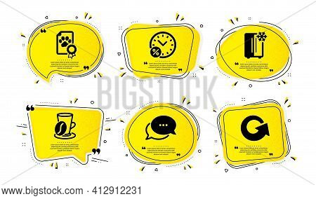 Coffee Cup, Dots Message And Refrigerator Icons Set. Loan Percent, Dog Certificate And Reload Signs.