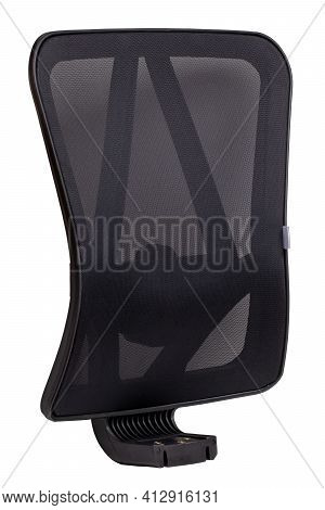 Spare Parts Isolated. Closeup Of Black Backrest Of A Office Or Computer Chair Isolated On White Back