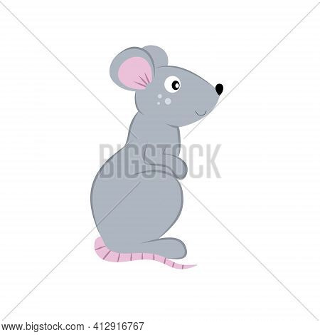 Drawing Of A Mouse Isolated On A White Background. Pets, Rats And Rodents, Small Animals From The Zo