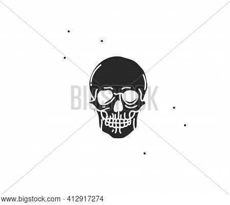 Hand Drawn Vector Abstract Stock Flat Graphic Illustration With Logo Element Of Magic Human Skull Si