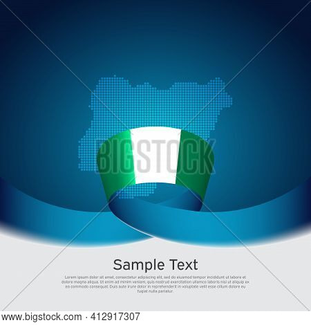 Nigeria Flag, Mosaic Map On Blue White Background. Vector Banner Design. Nigeria National Poster. Co