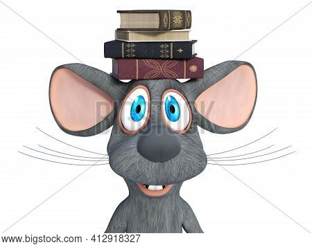 3d Rendering Of A Cute Smiling Cartoon Mouse Balancing A Pile Of Books On His Head. White Background