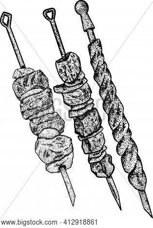 Vector Food Sketch Georgian National Traditional Kitchen. Georgian Cuisine. Barbecue, Kebab