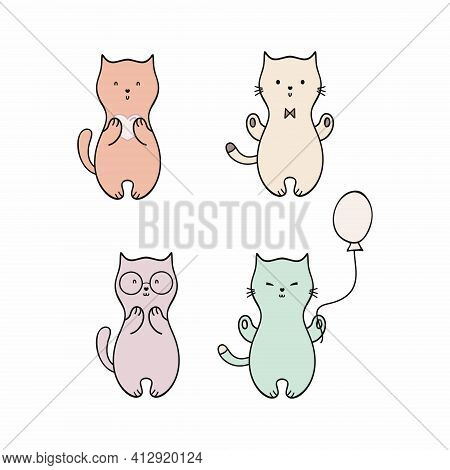 A Set Of Cute Doodle Kittens Isolated On A White Background. Cat, Cat And Kitten. Cat And Kitten, Ve