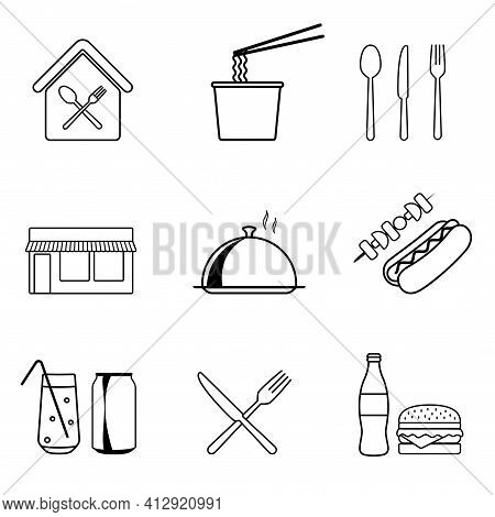 Food Courts Icons Set. Outline Set Of Food Courts Icons For Web Design. Vector Illustration Isolated