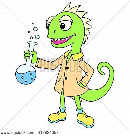 Professor Lizard Is Doing Chemical Research, Doodle Icon Image. Cartoon Caharacter Cute Doodle Draw