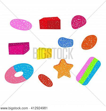 Gumdrops Candy Collection. Different Shapes Of Sweets. Isolated Elements On White Background. Vector