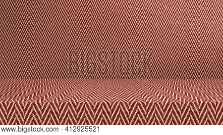 Red tweed fabric empty modern studio background, product display with copy space for display of your content, 3D illustration