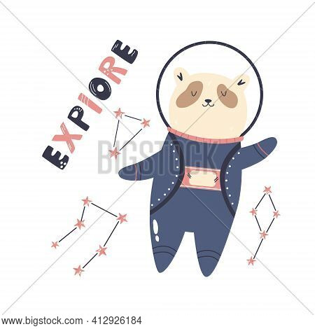 Vector Illustration Of A Funny Panda Bear Astronaut, Constellations And Letteing Text Explore. Perfe