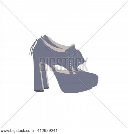 Gray Color Fashionable Women Ankle Boots. A Pair Of Women`s Heeled Shoes With A Lace-up Closure And