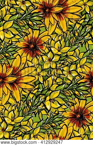 Seamless Pattern. Yellow Summer Flowers. Verbena And Mallow.