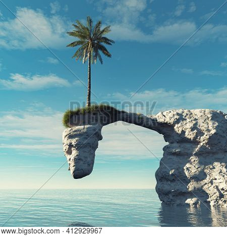 Palm Tree On Top Of An Arched Rock Cliff . This Is A 3d Render Illustration .