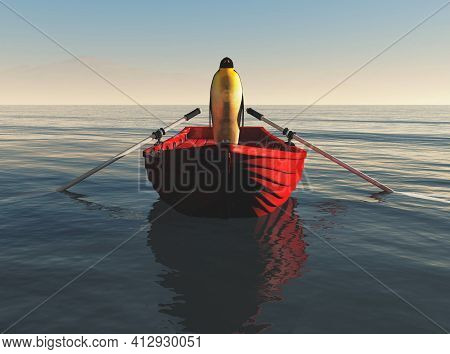 Penguin On A Red Boat In The Ocean . Travel And Journey Concept . This Is A 3d Render Illustration .