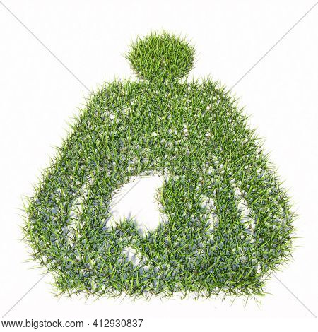Concept or conceptual green summer lawn grass symbol isolated white background, sign of pregnant woman. 3d illustration metaphor for motherhood, maternity, awaiting, love, care, life, miracle and joy