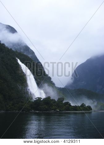 Waterfall At Milford Sound 2