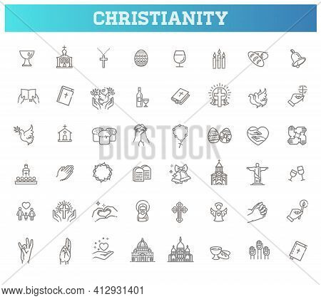 Christianity Vector Symbols. Set Symbols Religion And Church Line Icon