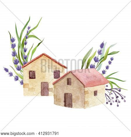 Brick House, Cottage With Red Roof Tiles. Small Village House With Lavender Flower And Green Leaves